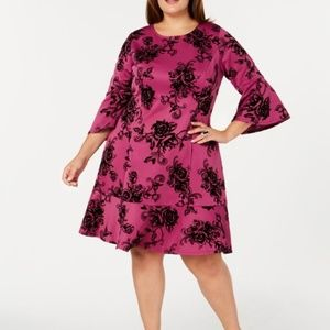 NY Collection Bell Sleeve Fit & Flare Dress
